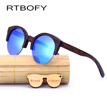 RTBOFY Wood Sunglasses Women 2017 Brand Designer Sun Glasses For Women Lens Properties Anti-Reflective UV400 Eyewear Sunglasses