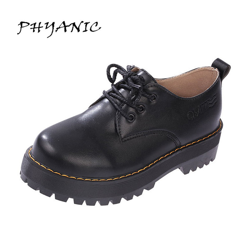 PHYANIC 2017 British Style Women Oxfords Spring Lace-Up Flats Round Toe Creepers Casual Ladies Platform Shoes Woman Wholesale phyanic creepers 2017 leisure lace up silver platform shoes woman loafers fashion flats women brogue shoes 3 colors xdy4257