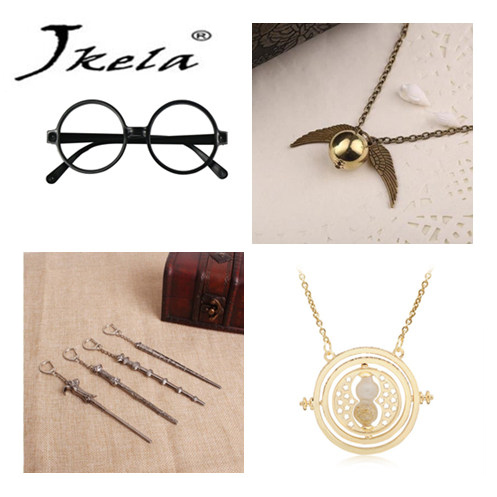 [Jkela] Harry Potter glass Vintage Classic Necklace Alloy Magic Wand Pendant Necklace Keychain Hourglass cosplay action figure harry potter felixfelicis pendant necklace