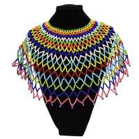 African Resin Beaded Chunky Chain Bib Choker Collar Egypt Statement Necklace Boho Ethnic Maxi Necklaces For Women kolye Jewelry