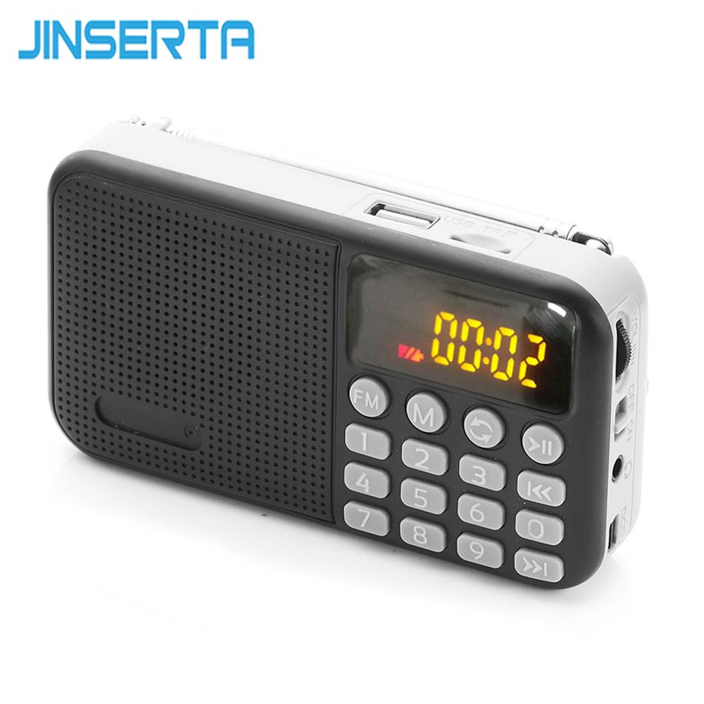 JINSERTA Mini FM Radio Portable Subwoofer Speaker MP3 Player With LED Display TF Card USB Play Support Headphone Output