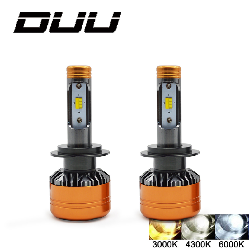 DUU Voiture LED Phare Tricolore 3 Couleur Z5 H1 H4 H7 H11 HB3 HB4 50 w 5800LM Flip Puces 3000 k 4300 k 6000 k Switchback LED Ampoules