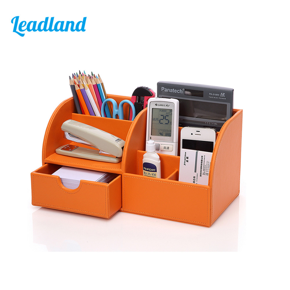 5-Slot Office Desktop PU Leather Storage Box Case Organizer Pen Holder Stationery Container For Office School Study 28 in 1 game memory card case holder storage box for nintendo 3ds xl
