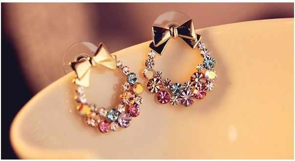 Frauen Nachahmung Bunten Strass Bowknot Ohrstecker Gold Kristall Zirkonia Bogen Ohrring Weibliche Mode Vintage-Schmuck