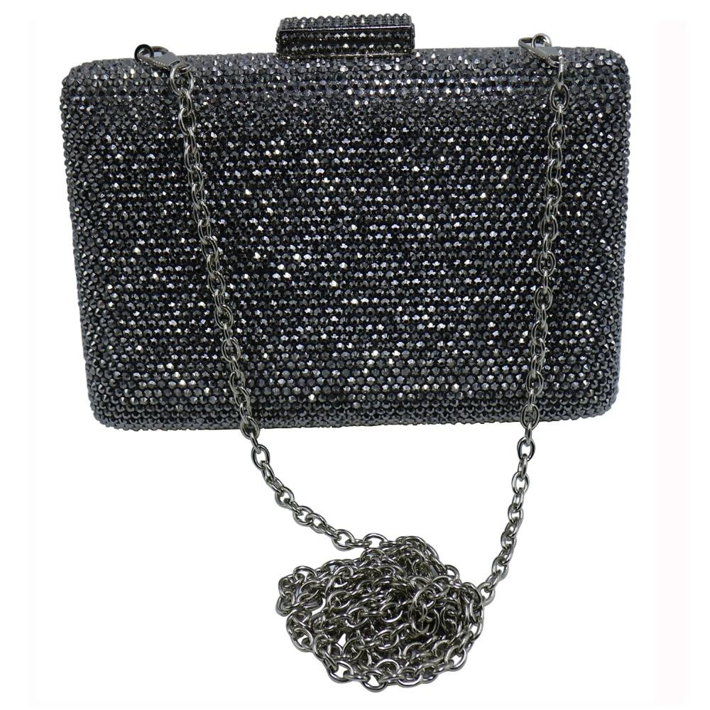 Pochette rigide noire sacs à main de soirée avec strass sacs de soirée en cristal et pochettes - 6