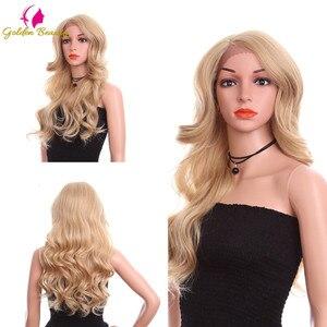 Image 3 - זהב יופי 24 אינץ Loose גל פאה ארוך שיער סינטטי תחרה מול פאות צד חלק Ombre חום בלונד קוספליי פאות עבור נשים