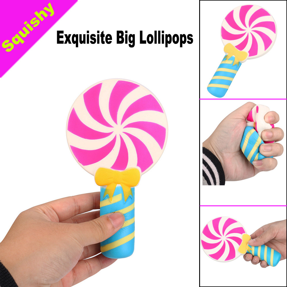 Kawaii Exquisite Fun Big Lollipops Scented Squishy Charm Slow Rising 16cm Simulation Kid Cell Phone Strap Pendant Toy