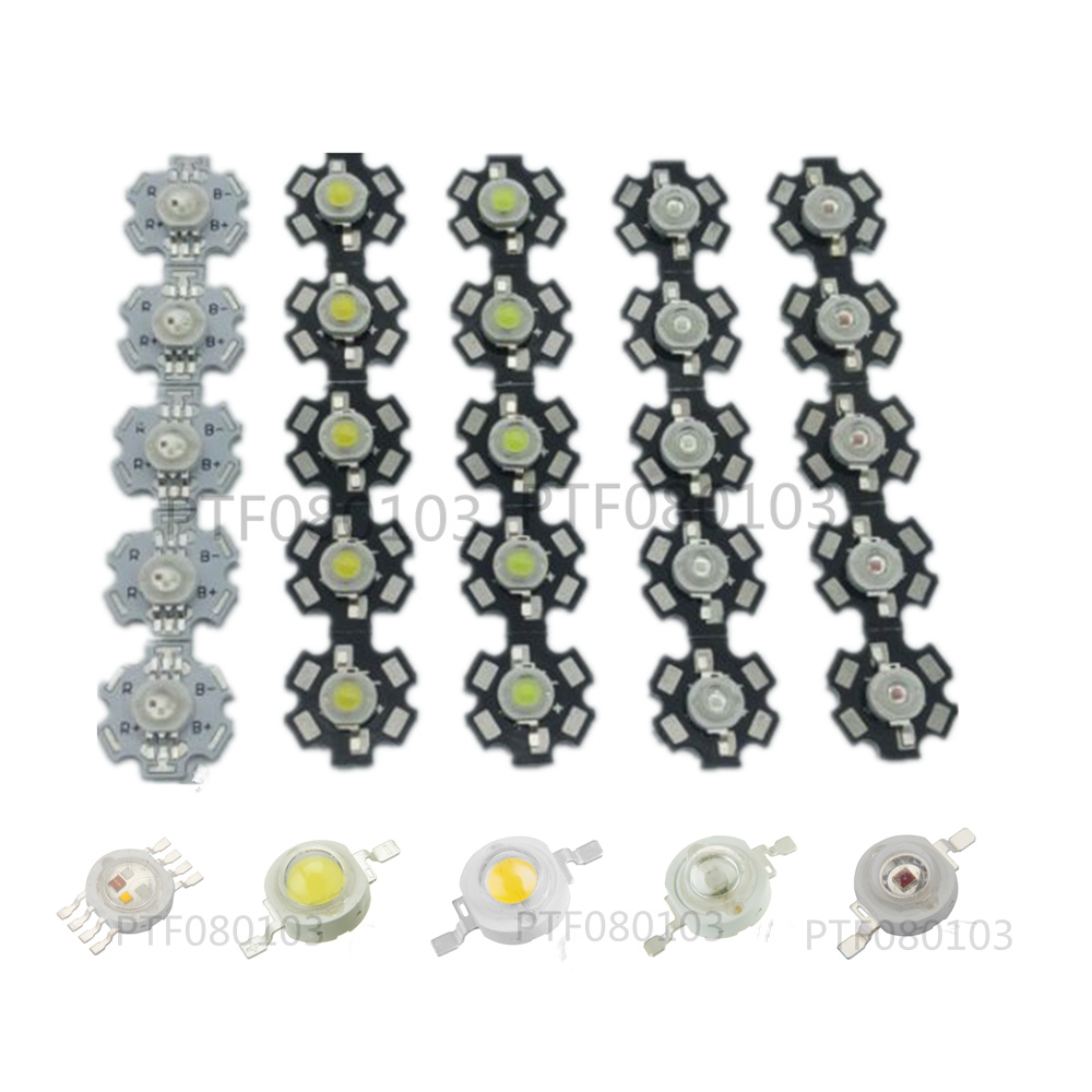 1W 3W 5W Warm / White Royal Blue Orange UV Violet RGB High Power LED Chip Light with PCB or not pcb 10pcs/lot цены