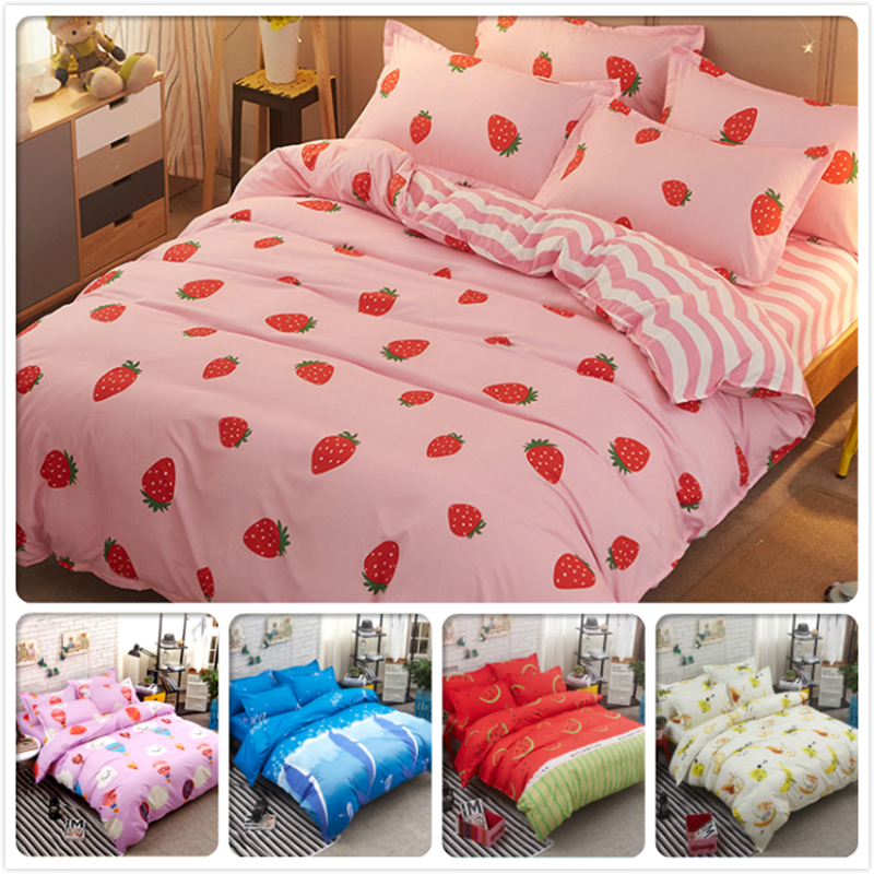 Pink Strawberry Pattern Duvet Cover 3/4 pcs Bed Linen Kids 4pcs Bedding Set Single Twin Queen King Size Bedlinen 180x220 150x200