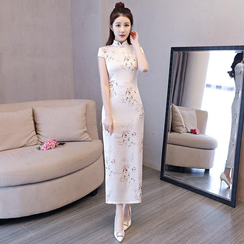f35a428b068a Vestito Tradizionale Vestiti style Novità Partito Lungo Di Cinese Vestido  xxl Delle Da Estate Pulsante Qipao 2018 1 Sottile Donne ...