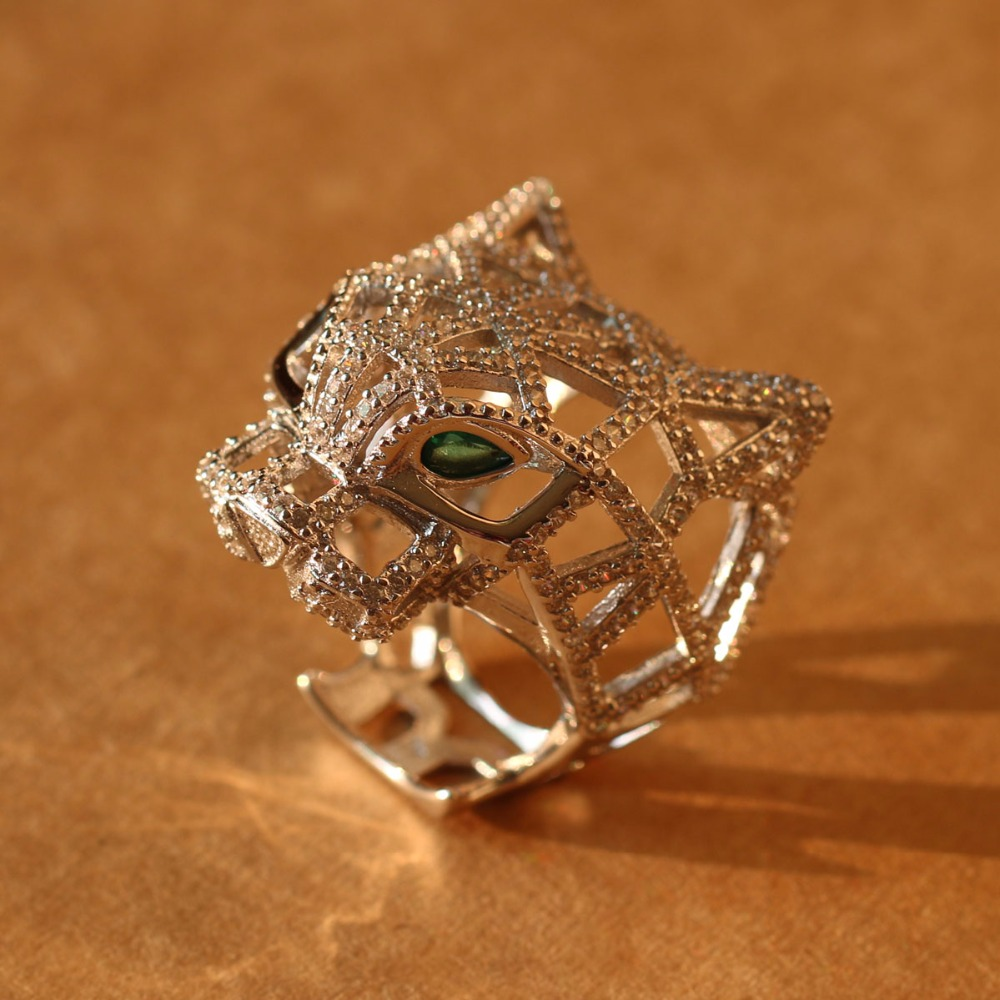 Silver Panther Ring For Women men 925 Sterling Silver Green Eyes Leopard finger Cubic Zirconia Ringen
