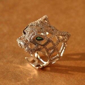 Серебряное кольцо с пантерой для женщин и мужчин, 925 пробы, серебряные, зеленые глаза, Леопардовый палец, кубический цирконий, кольца, вечерн...