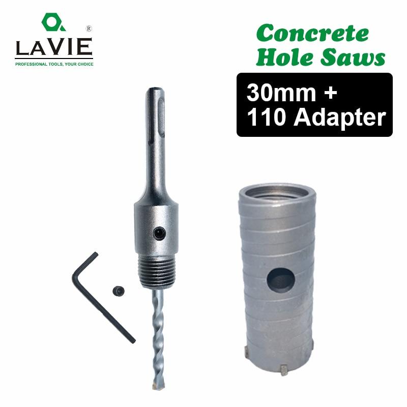 LA VIE 1 Set SDS PLUS 30mm Concrete Hole Saw Electric Hollow Core Drill Bit Shank 110mm Cement Stone Wall Air Conditioner Alloy