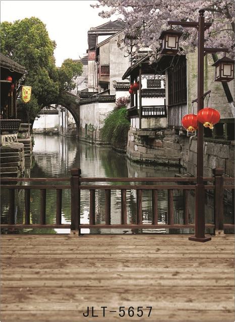 خلفية من القماش لصور المدينة المائية من الصين حاسوب مطبوع ستارة خلفية للتصوير الفوتوغرافي للأطفال في حفلات الزفاف للاستوديو