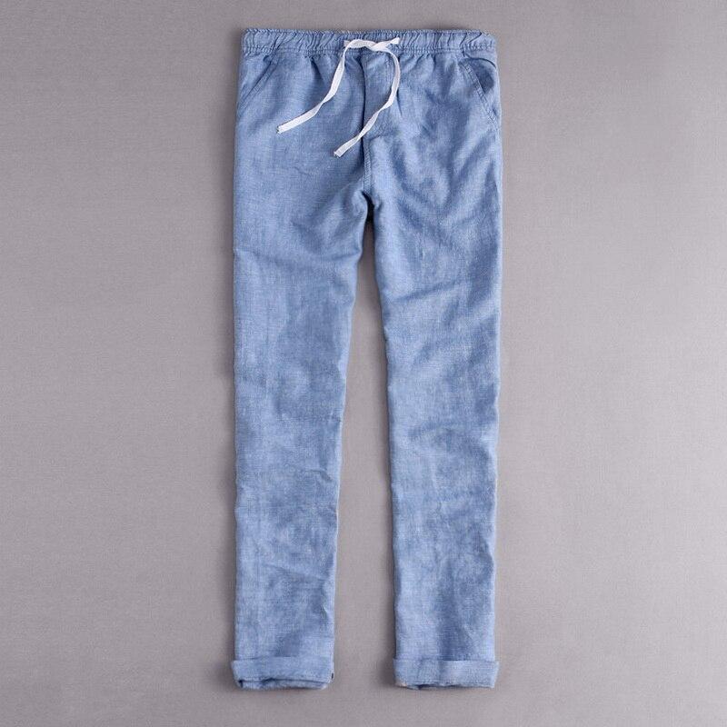 Italia di Marca di Stile abbigliamento moda Allentato vita Pantaloni lunghi uomo pantaloni da uomo in cotone e lino mens pantaloni Casual blu estate Broek