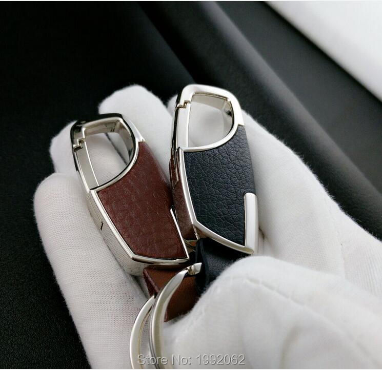 Car accessories men leather key chain metal car key ring for Mercedes benz key chain accessories