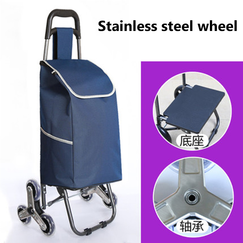 Three wheel folding cart ladies or shopping cart/bags stainless steel wheel trolley cart large capacity portable home package