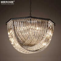 Vintage Black Crystal Lights Fixture Clear/Amber/Smoky Crystal Pendant Lamp Hanging Lighting for Living Room Lustres de Lamparas