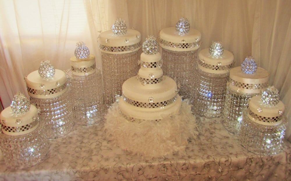 9pcs / LOT Amazing Wedding Cake Stand Crystal Centerpieces Hotelska dekoracija