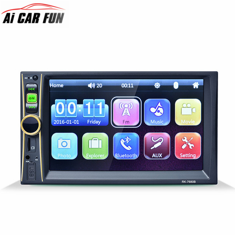 2DIN HD 6.6 Inch Car Player MP4 MP3 MP5 Bluetooth Hands-free Reversing Priority with Camera RK-7680 Car Stereo Audio MP5 Player 7 inch 2 din bluetooth car stereo multimedia mp5 player gps navigation fm radio auto rear view camera steering wheel control