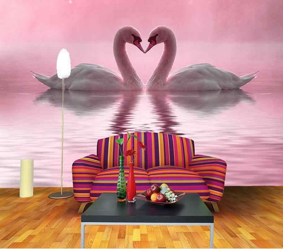 Modern Living Room Wallpapers Romantic Beautiful Love Swan Lake