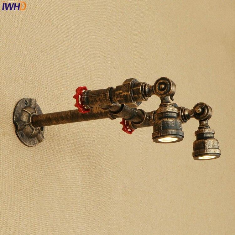 IWHD Винтаж промышленные Лофт бра железа Регулируемый Arm светодиодный Wandlamp Ретро Ванная комната свет творчества аппликация Murale светильник