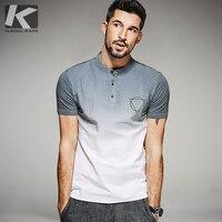 KUEGOU 2017 Summer Mens Fashion Shirts Patchwork Gray Blue Brand Clothing For Man S Short Sleeve