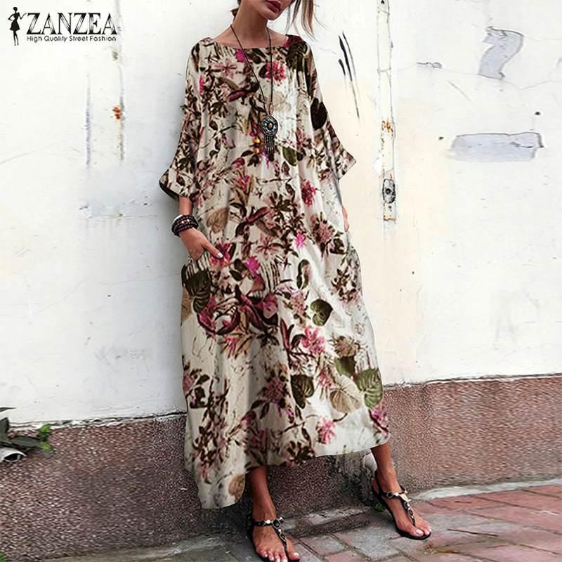 €12.55 39% СКИДКА|Женское богемное платье с цветочным принтом ZANZEA, Осеннее хлопковое льняное платье с круглым вырезом и рукавом 3/4, повседневное длинное платье|Платья| |  - AliExpress