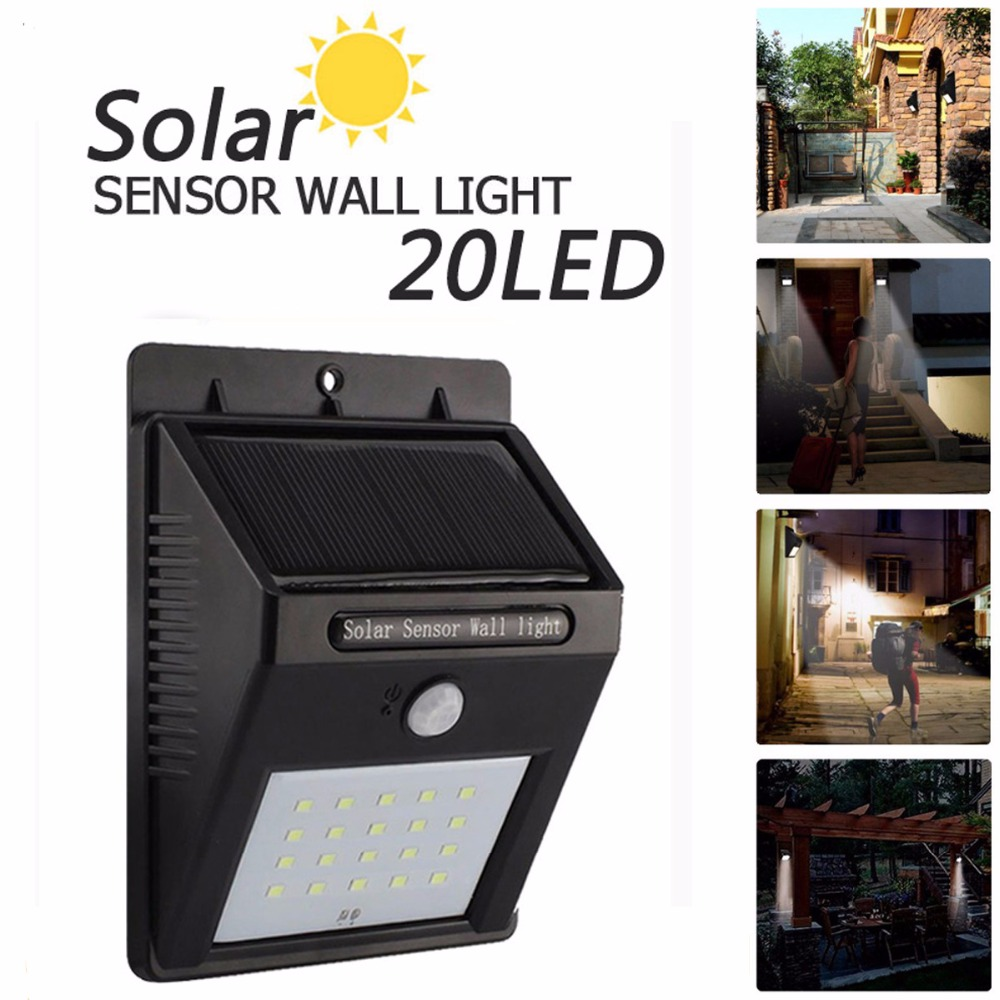 Hot 20led Outdoor Solar Sensor Led Light Pir Motion Dawn Wiring Diagram Further Lamp Detection Range With Dusk To Dark Security In Lamps From Lights
