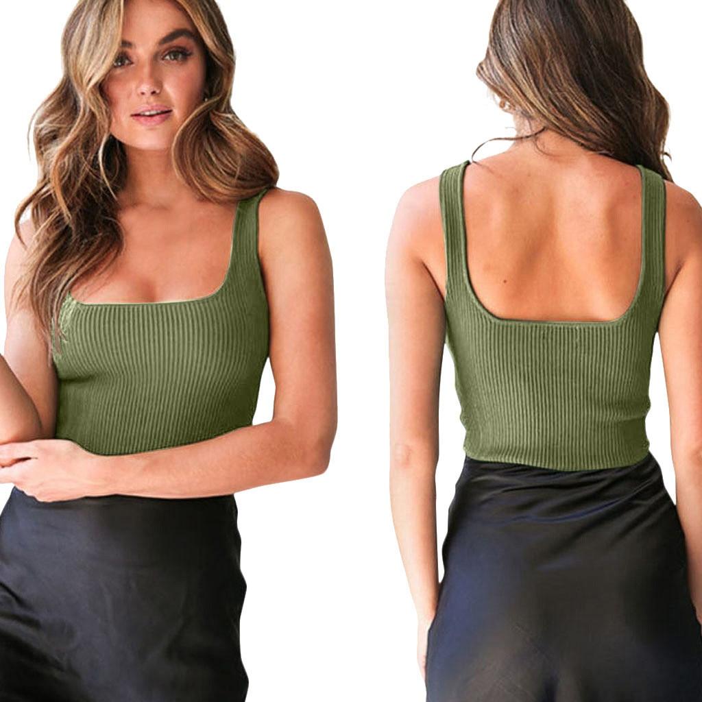 2020 summer knit Tank Tops Women sexy girls camisole slash-neck top sleeveless t shirt short female basic camis