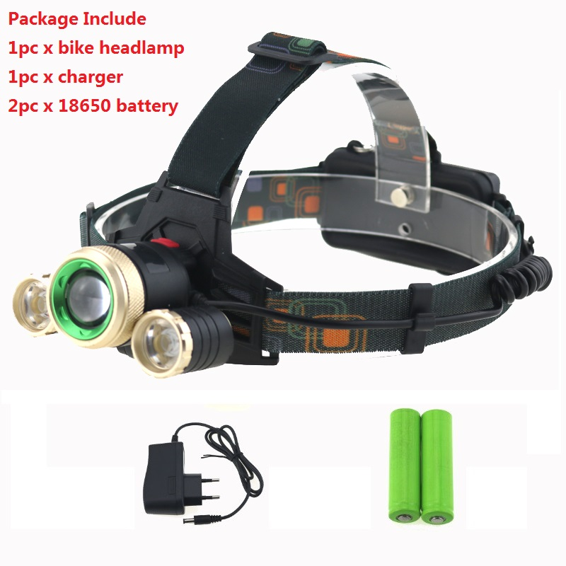 Zoomable T6 LED 5000 Lumens Bicycle Bike Head Light Headlamp Rechargeable Lamp