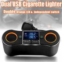 2 in 1 ZNB02 cigarette lighter USB charger adapter 2-way double plug socket charger splitter 12V automobile