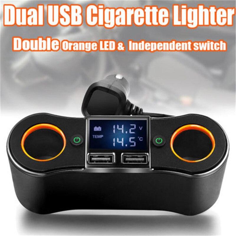 Adaptador de cargador USB para encendedor de cigarrillos de coche 2 vías doble enchufe cargador divisor 12 V 15 V carga de coche ZNB02