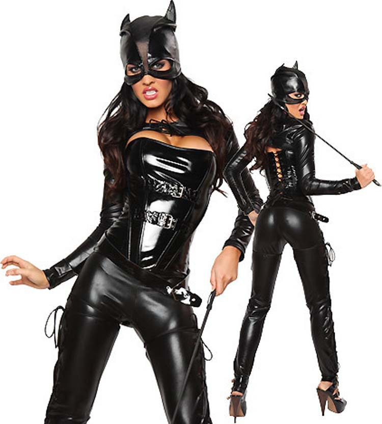black faux leather bodysuit fetish erotic lingerie cosplay catwoman latex catsuit with sexy mask halloween costumes - Fetish Halloween