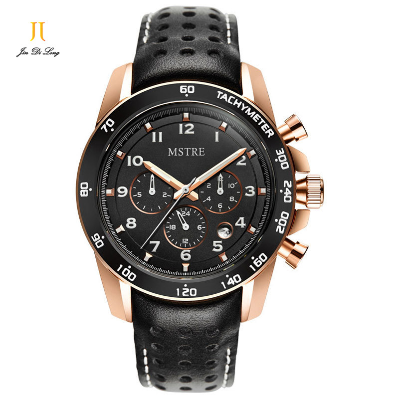 Brand Tachymeter Business Sports Fashion Watch Men's Automatic Flywheel Wrist Watches Man Leather Strap Sapphire Waterproof 50M