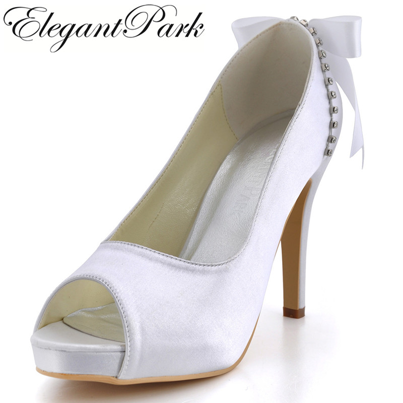 Woman Shoes EP2095-IP White Peep Toe Stiletto high Heels Bow Rhinestones Platform Pumps Satin women Wedding Shoes meotina women wedding shoes 2018 spring platform high heels shoes pumps peep toe bow white slip on sexy shoes ladies size 34 43