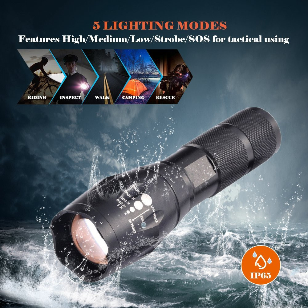 T6 LED Flashlight Waterproof Zoomable Lamp 800LM Super Bright Aluminum Torch for Emergency and Self Defense super bright led long flashlight hunting torch light outdoor waterproof for self defense camping partol torche zaklamp page 8