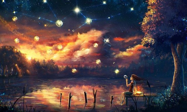 Psychedelic Trippy Girl The Night Sky Nice Home Decor Silk Poster Art  Bedroom Decoration 1653
