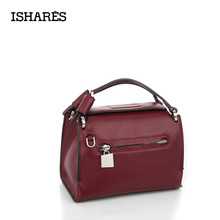ISHARES korean flap handbag small square messenger bag import genuine leather milled cowhide bags women crossbody