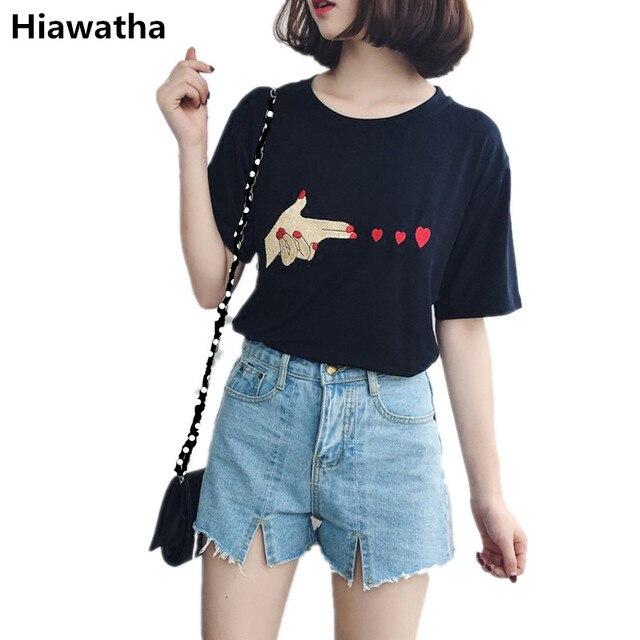 Гайавате лето любовь вышивка футболка Женская Корейская короткий рукав свободные футболки Мода черный, белый цвет Топы плюс Размеры футболки T026