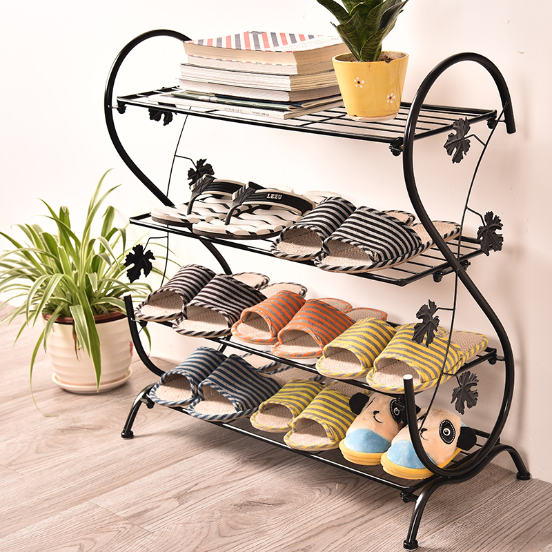 Continental Iron Shoe Multilayer Simple Stainless steel dust Storage shoe Iron shoe rack Folding Shelves reinforcing steel double simple shoe storage rack assembly cheap thicker dust specials