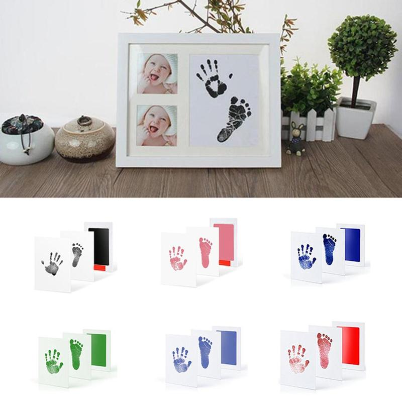 Kids Footprint Newborn Handprint Stamp Imprint Cards Non-toxic Baby Infant Ink Pad Inkless Mess Free Baby Souvenir Safe 6 Colors
