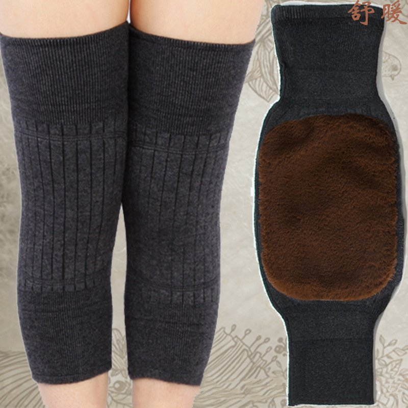 One Pair Unisex Winter Warm Knee Double-layer Windproof Knee Protection Wool Autumn Winter Lightweight Breathable Kneecap(China)