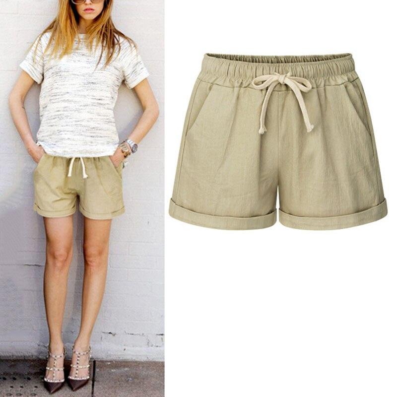 Fashion Summer Women Wide Leg Shorts Cotton High Waist Drawstring Pockets Girl Casual Shorts Plus Size M-6XL GM