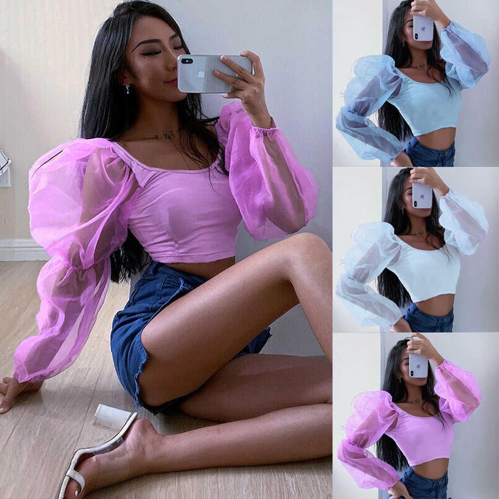 ホット販売の女性のメッシュシアーシースルーパフトップスシャツブラウスパーティークラブウェアセクシーな固体エレガントなビーチ服