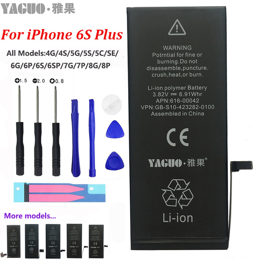 100% original 5a completo 2750 mah bateria para apple iphone 6 s plus 6sp iphone6sp real capacidade zero ciclo com kit de ferramentas reparo