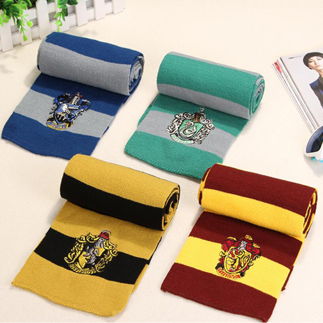 Potter Scarf Gryffindor Slytherin Hufflepuff Ravenclaw Scarves Cosplay Costumes Neckerchief Men Women Boy Girl Scarf Christmas