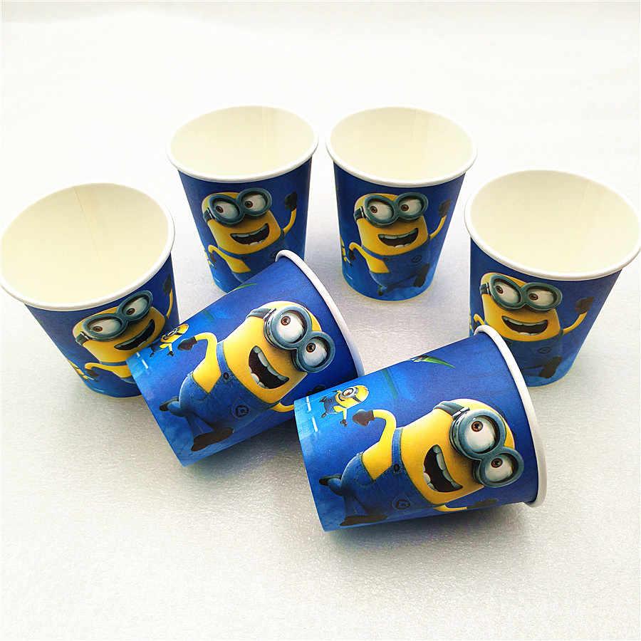Pesta Ulang Tahun Minion Taplak Meja Piala Piring Jerami Serbet Hadiah Permen Popcorn Kotak Kartu Ulang Tahun Minion Perlengkapan
