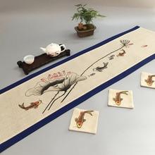 Ручная роспись рыбы Китайский Хлопок Лен настольная дорожка Рождественский декоративный Настольный коврик Рождественский Чай Скатерть Прямоугольные кофейные прокладки