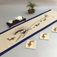 Painting Vintage Fish Chinese Cotton Linen Table Runner Fabric Table Mat Home Decor Coffee Table Cloth Rectangular Tea Pads